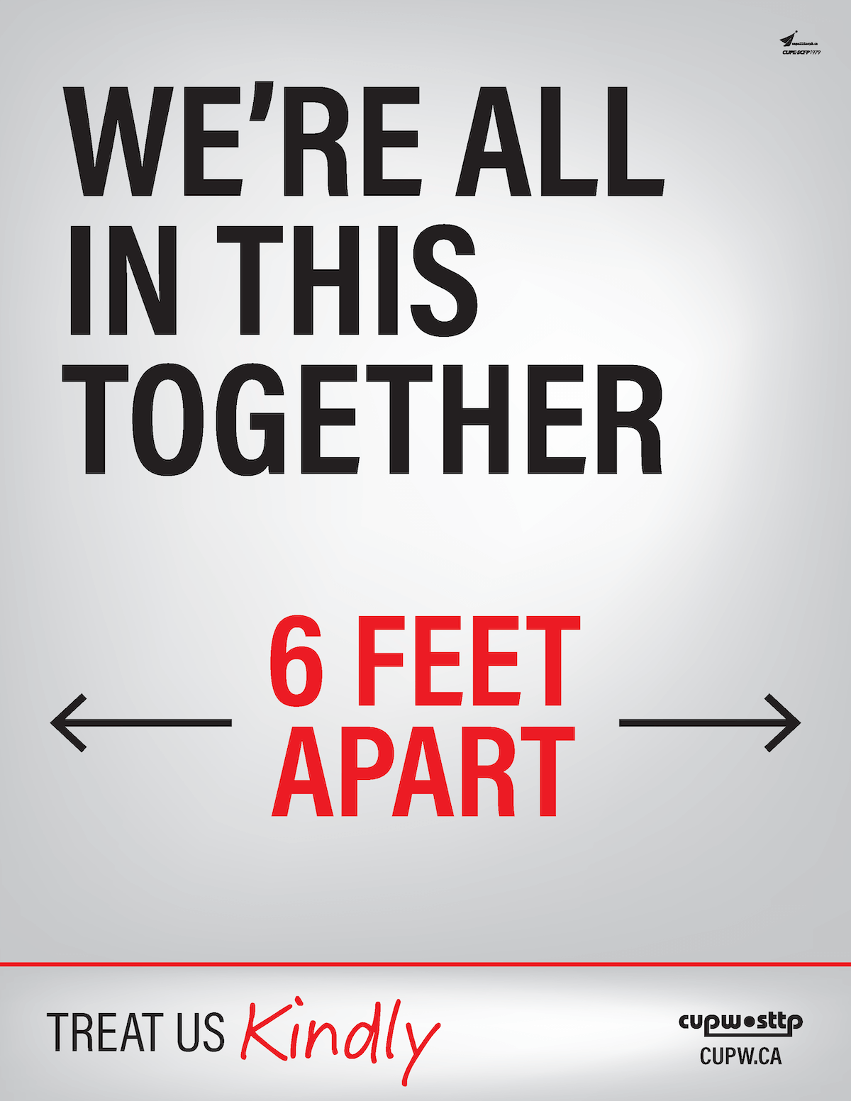Download and Print: Physical Distancing Poster - WE'RE ALL IN THIS TOGETHER - 6 FEET APART